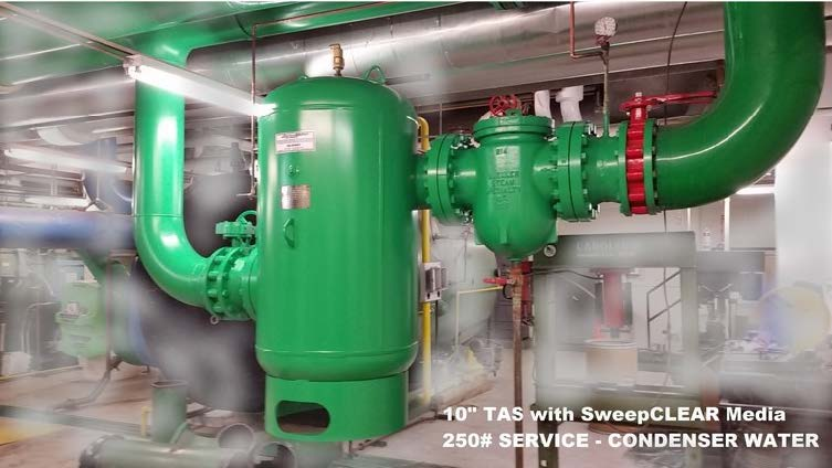 "10"" TAS with sweepCLEAR media filter CLEAN CONDENSER WATER SAVES ENERGY & WATER"